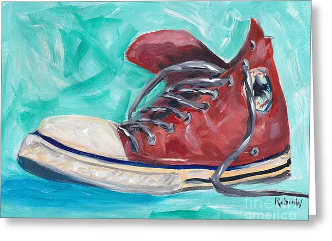 Conversing Paintings Greeting Cards - Red Chuck Greeting Card by Robin Wiesneth