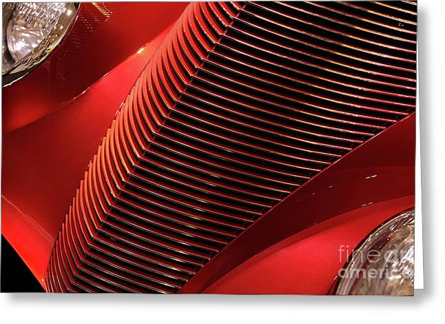 Renewing Photographs Greeting Cards - Red Classic Car Details Greeting Card by Oleksiy Maksymenko