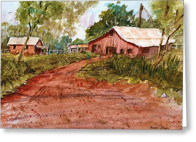 Fence Pole Drawings Greeting Cards - Red Clay Farm - Watercolor Greeting Card by Barry Jones
