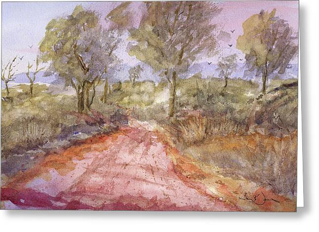 Gravel Road Paintings Greeting Cards - Red-Clay Road Greeting Card by Barry Jones