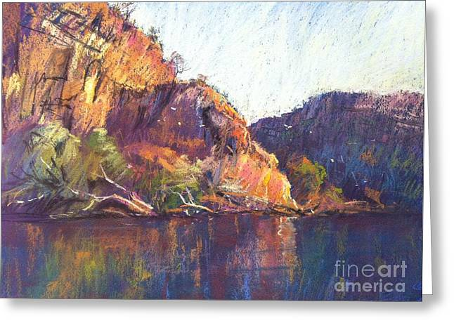 Cliffs Pastels Greeting Cards - Red Cliffs Greeting Card by Pamela Pretty