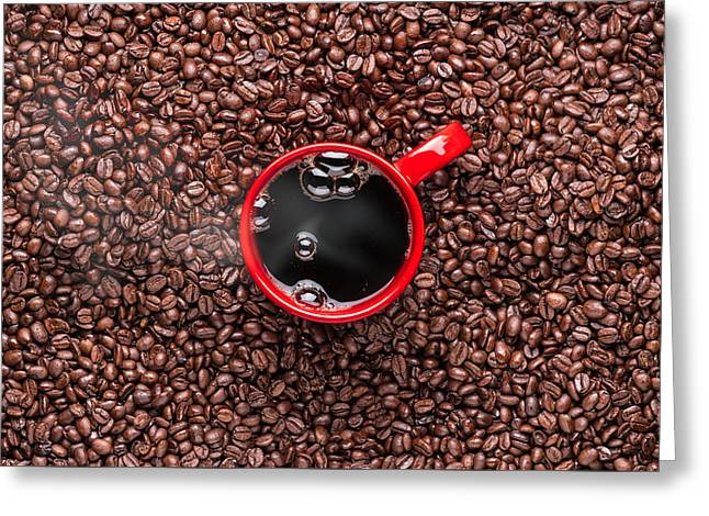 Red Coffee Cup Greeting Card by Steve Gadomski