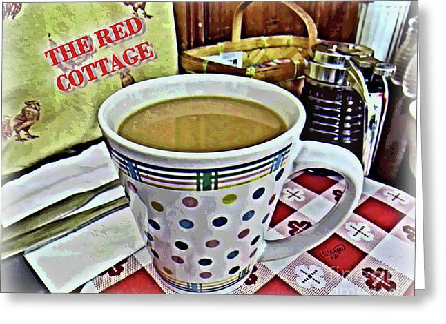 Red Cottage Restaurant Coffee Photo-painting Greeting Card by Shelly Weingart