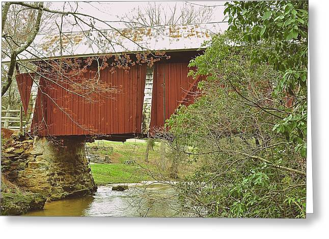 Tin Roof Greeting Cards - Red Covered Bridge Greeting Card by Wayne Marsh
