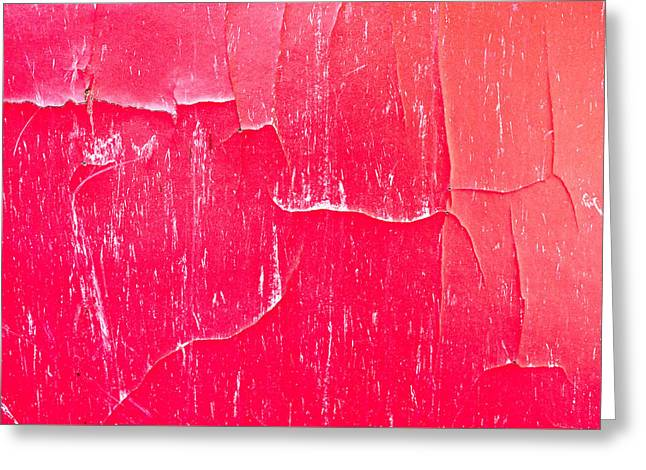 Red Cracked Wood Greeting Card by Tom Gowanlock
