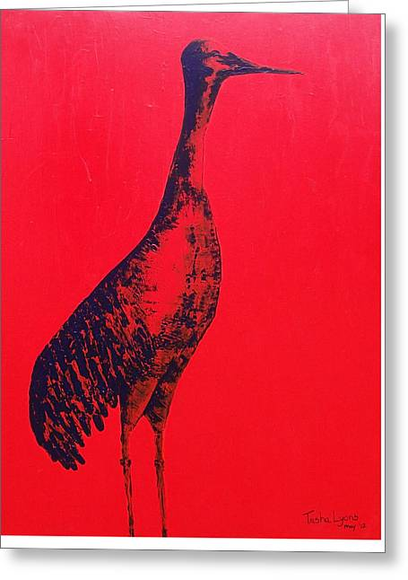 Tennessee River Paintings Greeting Cards - Red Crane Greeting Card by Trisha Lyons