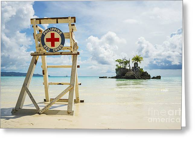 Empty Chairs Greeting Cards - Red Cross Lifeguarding Chair On Boracay Greeting Card by Luis Martinez