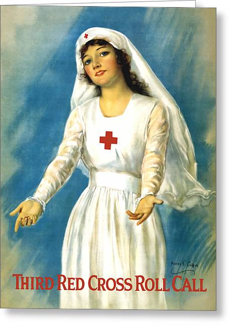 Red Cross Greeting Cards - Red Cross Nurse - WW1 Greeting Card by War Is Hell Store
