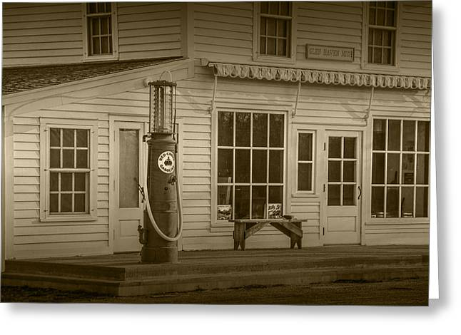 Brown Toned Art Greeting Cards - Red Crown Vintage Gasoline Pump in Sepia Tone Greeting Card by Randall Nyhof