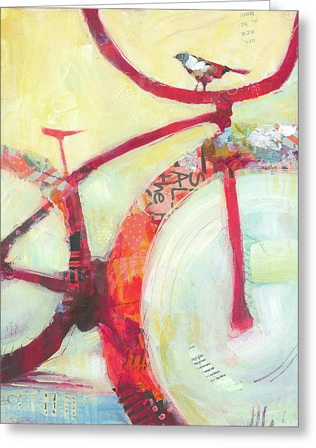 Red Cruiser And Bird Greeting Card by Shelli Walters