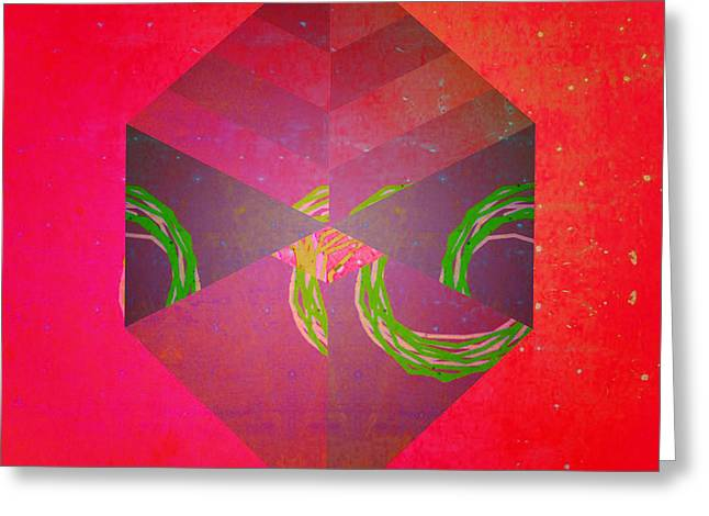 Pop Mixed Media Greeting Cards - Red Cube Greeting Card by Anita Fugoso