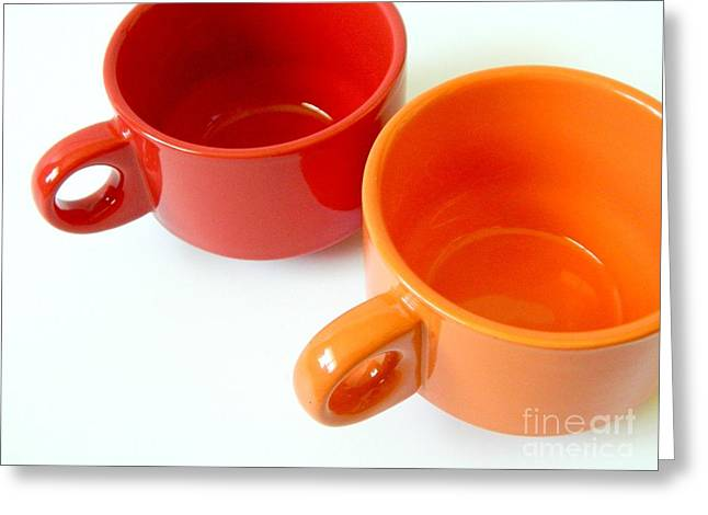 Coffee Drinking Greeting Cards - Red Cup Orange Cup Greeting Card by Jennifer Boisvert