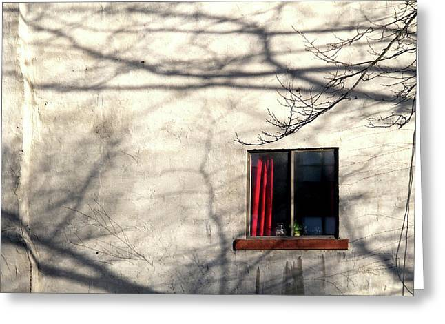 Red Curtain Greeting Card by Doug Hockman Photography