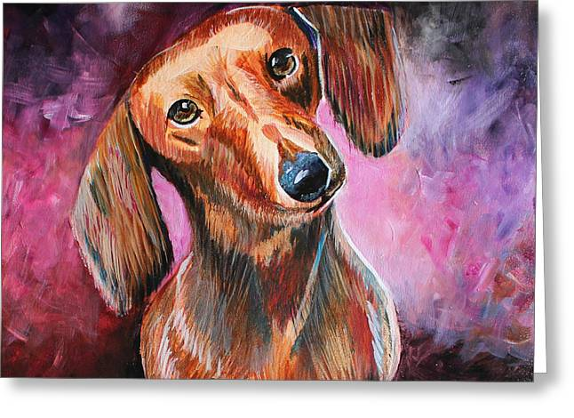 Puppies Paintings Greeting Cards - Red Dachshund 2 Greeting Card by Sonya Delaney