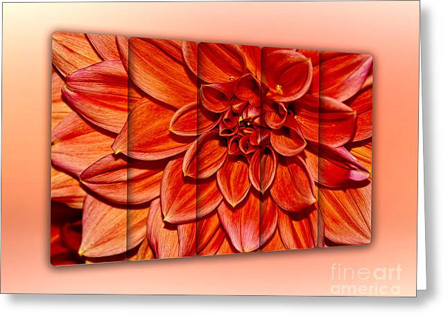 Floral Digital Art Digital Art Greeting Cards - Red Dahlia - Panel Art by Kaye Menner Greeting Card by Kaye Menner