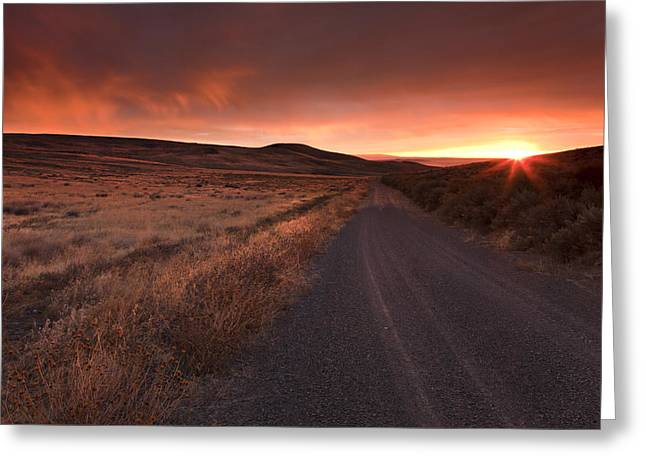 Country Greeting Cards - Red Dawn Greeting Card by Mike  Dawson