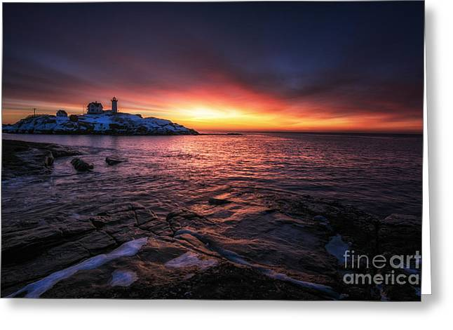 Cape Neddick Lighthouse Greeting Cards - Red Dawn Greeting Card by Scott Thorp