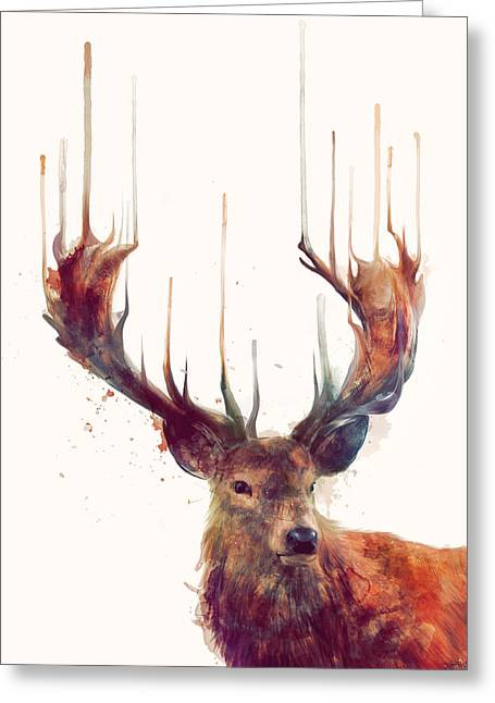 Red Deer Greeting Cards - Red Deer Greeting Card by Amy Hamilton