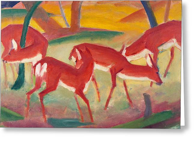 Red Deer Greeting Cards - Red Deer One Greeting Card by Franz Marc