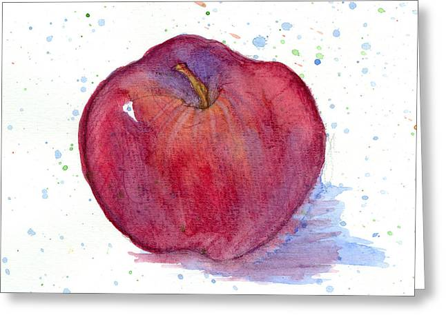 Burgundy Drawings Greeting Cards - Red Delicious Apple Study Greeting Card by Cathie Richardson