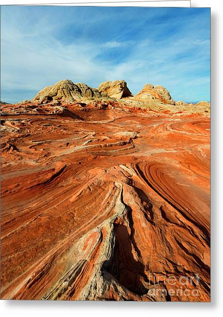 Red Desert Lines Greeting Card by Mike Dawson