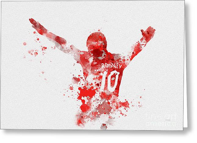 Wayne Rooney Greeting Cards - Red Devil Greeting Card by Rebecca Jenkins