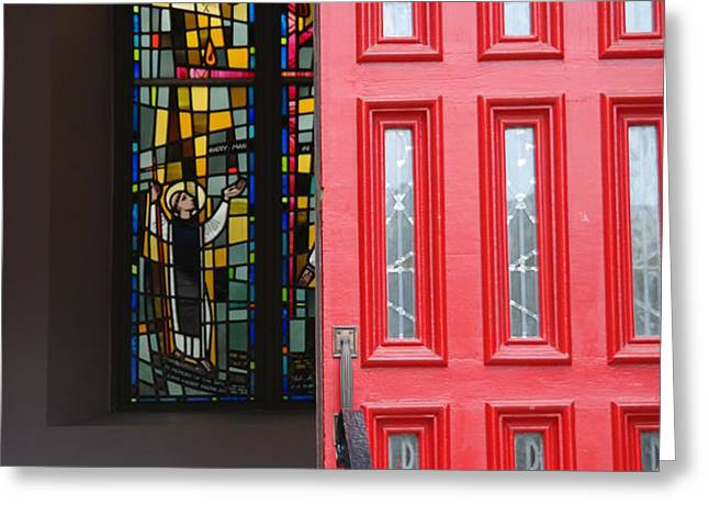 Red door at Church in front of stained glass Greeting Card by David Bearden