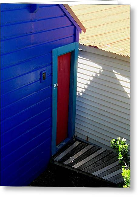 Spring Greeting Cards - Red Door Blue Greeting Card by Gretchen Wrede