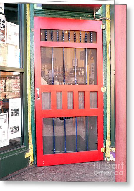 Grocery Store Greeting Cards - Red Door Greeting Card by David Bearden