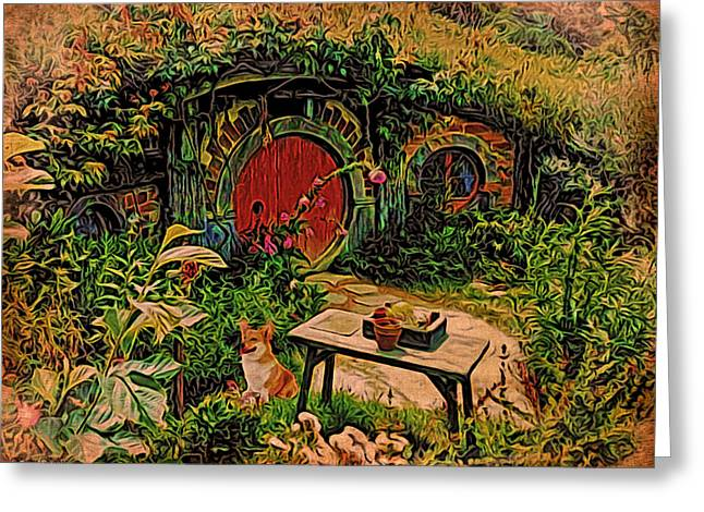 Lord Of The Rings Greeting Cards - Red Door Hobbit House with Corgi Greeting Card by Kathy Kelly
