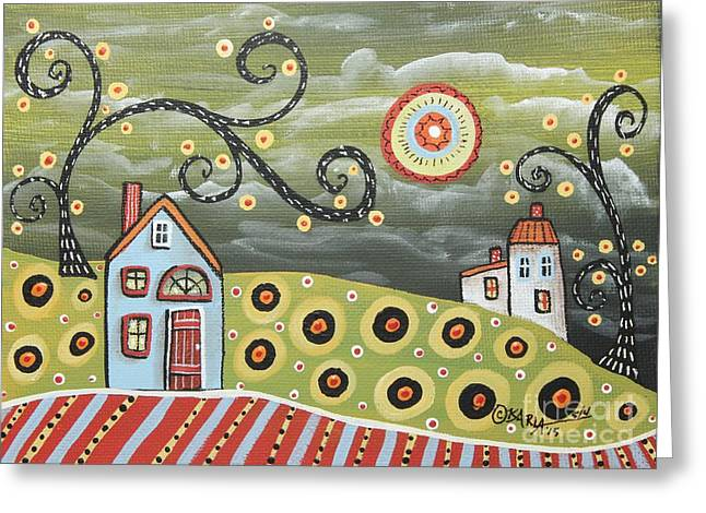 Blue House Greeting Cards - Red Door Greeting Card by Karla Gerard