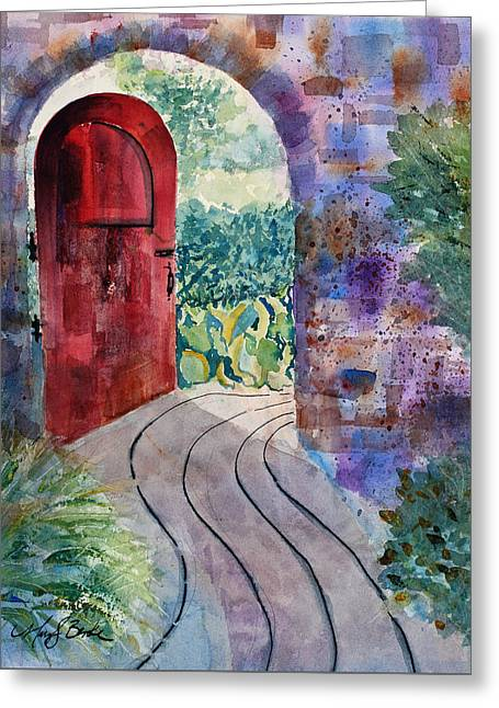 Red Door Greeting Card by Mary Benke