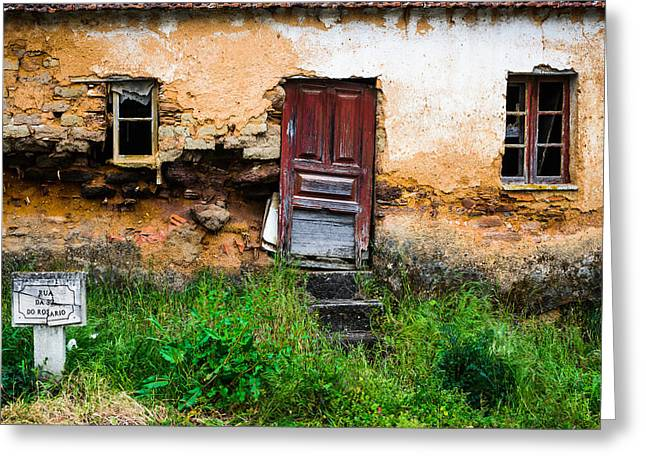 Wooden Building Greeting Cards - Red Door With No Number Greeting Card by Marco Oliveira