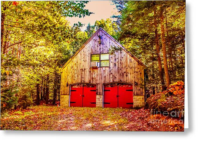 Barn Door Greeting Cards - Red doors barn Greeting Card by Claudia Mottram