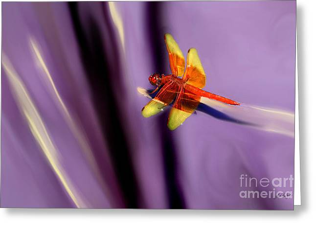 Transformative Art Greeting Cards - Red Dragonfly on Purple Background Greeting Card by Lisa Redfern