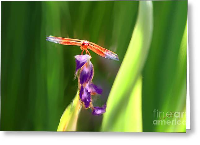 Transformative Art Greeting Cards - Red Dragonfly on Purple Flower Greeting Card by Lisa Redfern