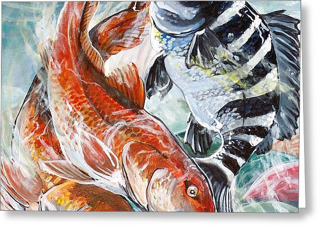 Red Drums and a Sheephead Greeting Card by Jenn Cunningham