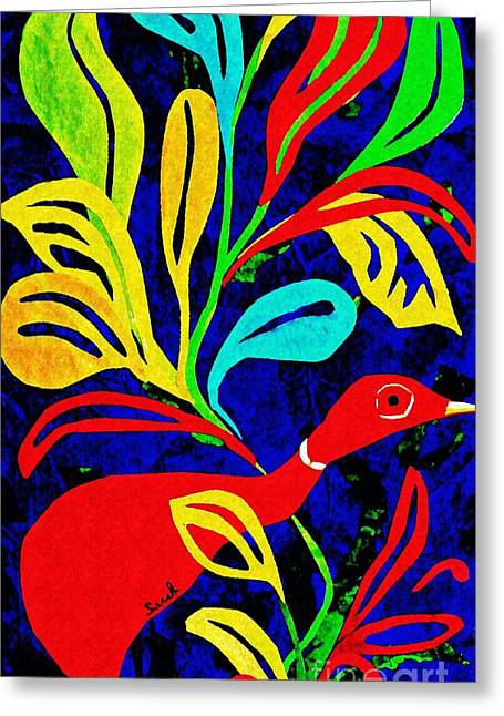 Red Duck Greeting Card by Sarah Loft