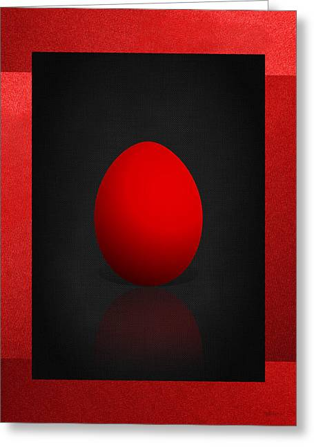 Ultra Modern Greeting Cards - Red Egg on Black and Red Canvas  Greeting Card by Serge Averbukh
