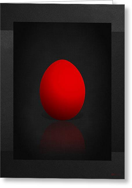 Ultra Modern Greeting Cards - Red Egg on Black Canvas  Greeting Card by Serge Averbukh