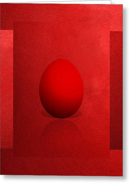 Ultra Modern Greeting Cards - Red Egg on Red Canvas  Greeting Card by Serge Averbukh