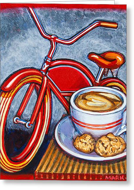 Biscotti Greeting Cards - Red Electra Delivery Bicycle Cappuccino and Amaretti Greeting Card by Mark Howard Jones