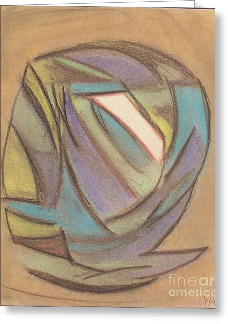 Self Portrait Pastels Greeting Cards - Red Eye Greeting Card by Gregory Letts