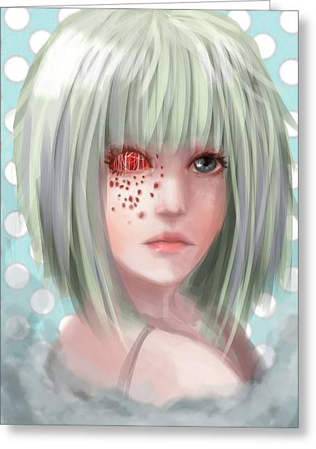 Goth Girl Digital Art Greeting Cards - Red eye Greeting Card by Jane Vindom
