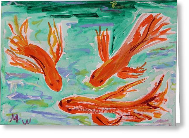 Red Eye Koi Greeting Card by Mary Carol Williams