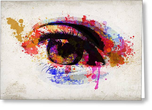 Eyelash Greeting Cards - Red eye watercolor Greeting Card by Delphimages Photo Creations