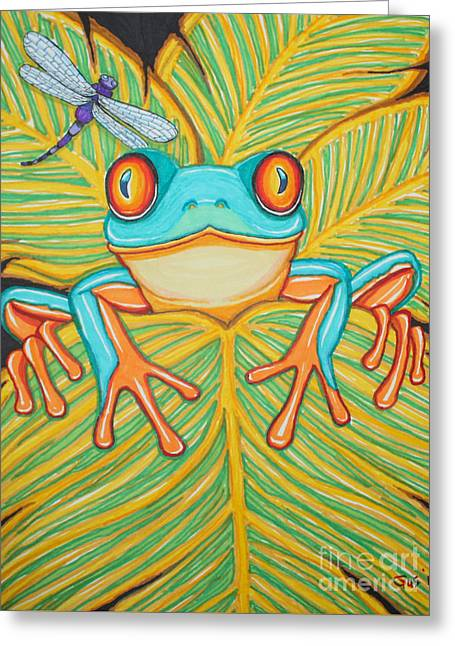 Red Eyed Leaf Frog Greeting Cards - Red eyed tree frog and dragonfly Greeting Card by Nick Gustafson