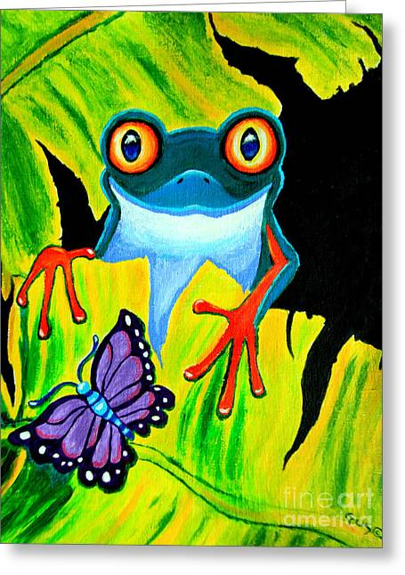 Tree Frog Paintings Greeting Cards - Red Eyed Tree Frog and Purple Butterfly Greeting Card by Nick Gustafson
