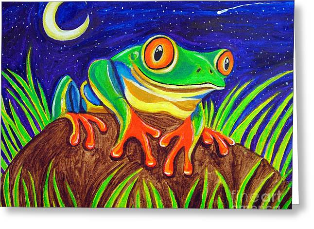 Tree Frog Greeting Cards - Red-eyed tree frog and starry night Greeting Card by Nick Gustafson