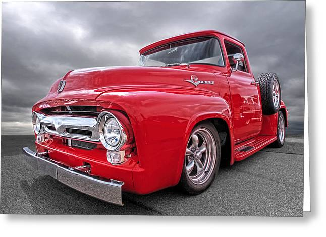1956 Ford Truck Greeting Cards - Red F-100 Greeting Card by Gill Billington